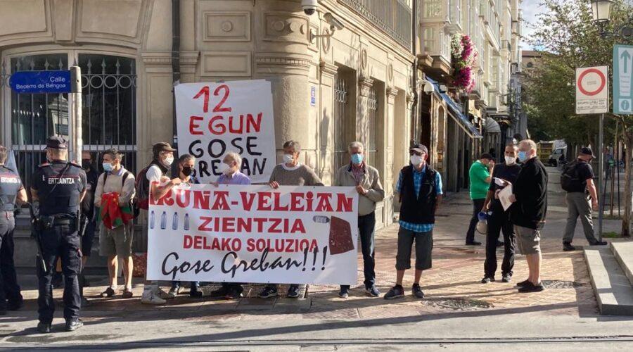 Miembros de la plataforma 'Iruña-Veleia argitzearen aldeko gose grebalariak' protestan frente al Parlamento vasco